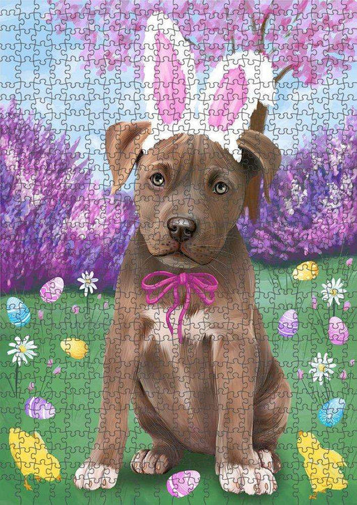 Pit Bull Dog Easter Holiday Puzzle with Photo Tin PUZL51567