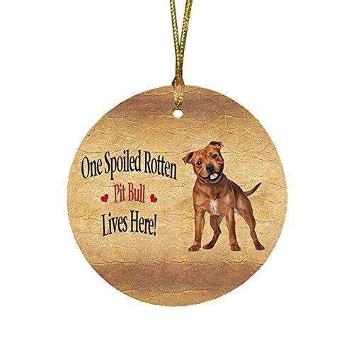 Pit Bull Spoiled Rotten Dog Round Christmas Ornament