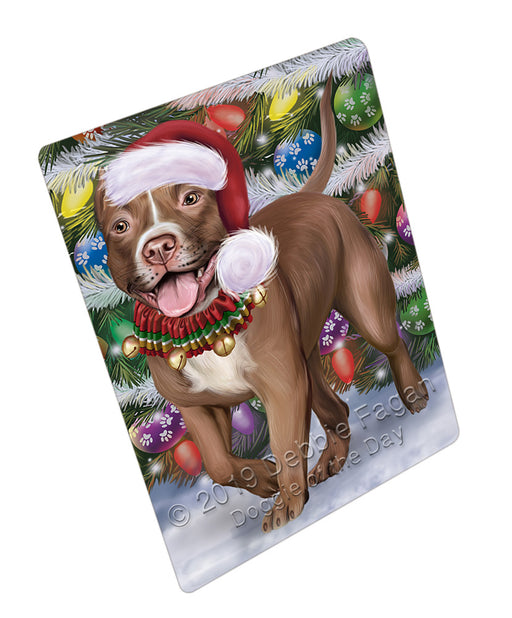 Trotting in the Snow Pitbull Dog Refrigerator / Dishwasher Magnet RMAG108384