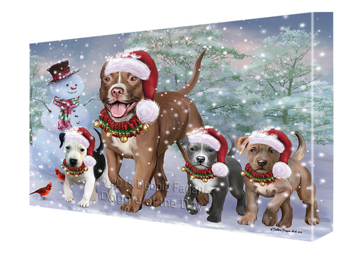 Christmas Running Family Pit Bull Dogs Canvas Print Wall Art Décor CVS141389