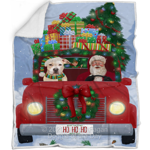 Christmas Honk Honk Red Truck Here Comes with Santa and Pitbull Dog Blanket BLNKT140973