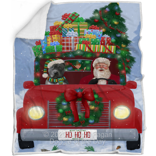 Christmas Honk Honk Red Truck Here Comes with Santa and Pitbull Dog Blanket BLNKT140983