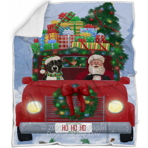 Christmas Honk Honk Red Truck Here Comes with Santa and Pitbull Dog Blanket BLNKT140988