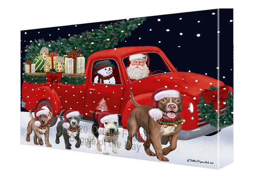 Christmas Express Delivery Red Truck Running Pitbull Dogs Canvas Print Wall Art Décor CVS146249