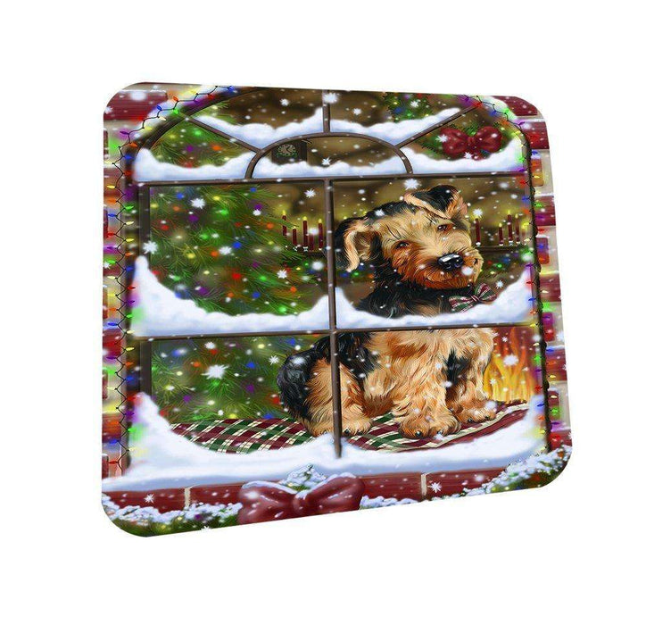 Please Come Home For Christmas Airedales Dog Sitting In Window Coasters Set of 4