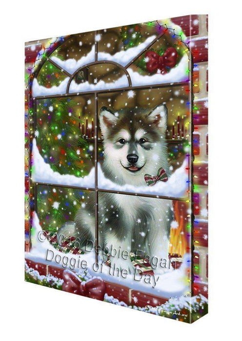 Please Come Home For Christmas Alaskan Malamute Dog Sitting In Window Canvas Wall Art