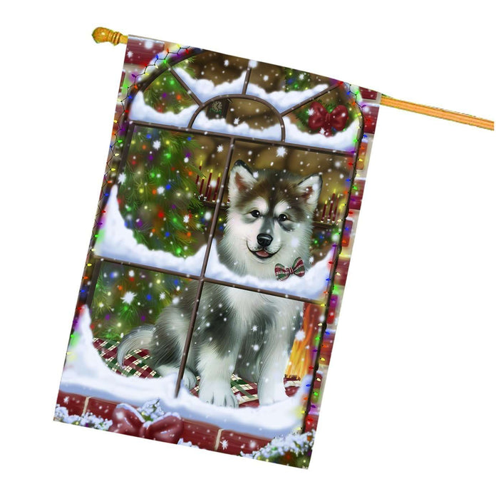Please Come Home For Christmas Alaskan Malamute Dog Sitting In Window House Flag