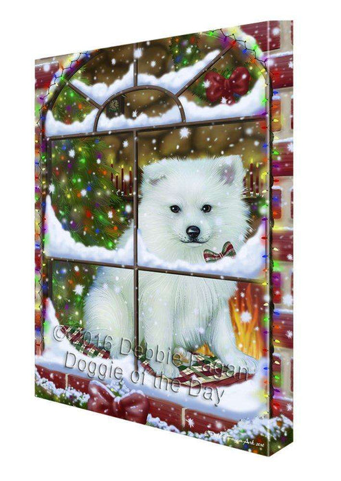Please Come Home For Christmas American Eskimo Dog Sitting In Window Canvas Wall Art