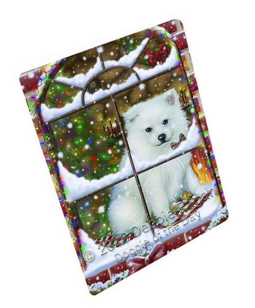 "Please Come Home For Christmas American Eskimo Dog Sitting In Window Magnet Mini (3.5"" x 2"")"