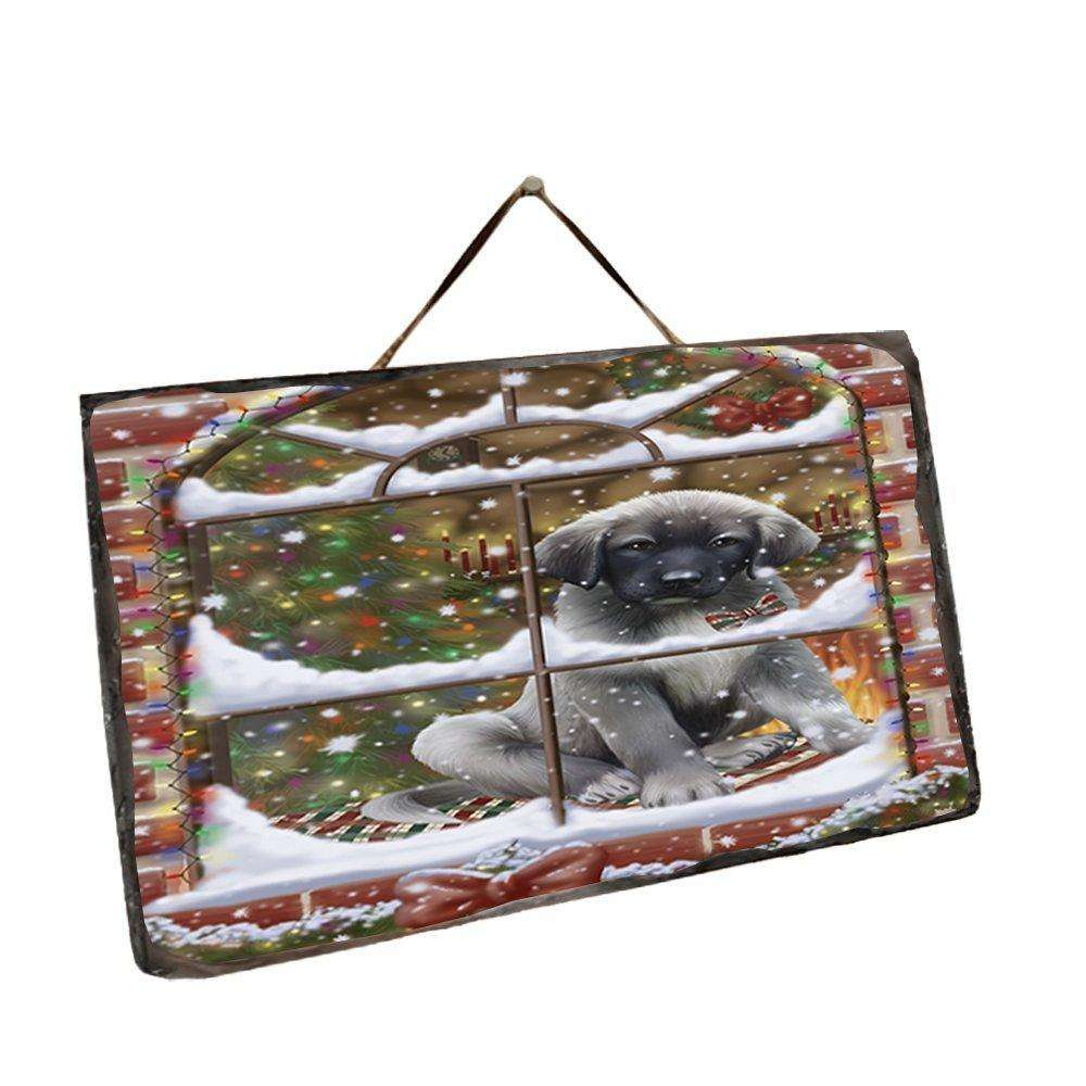 Please Come Home For Christmas Anatolian Shepherds Sitting In Window Wall Décor Hanging Photo Slate