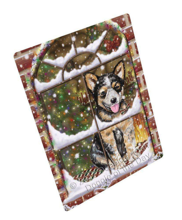 Please Come Home For Christmas Australian Cattle Dog Sitting In Window Art Portrait Print Woven Throw Sherpa Plush Fleece Blanket
