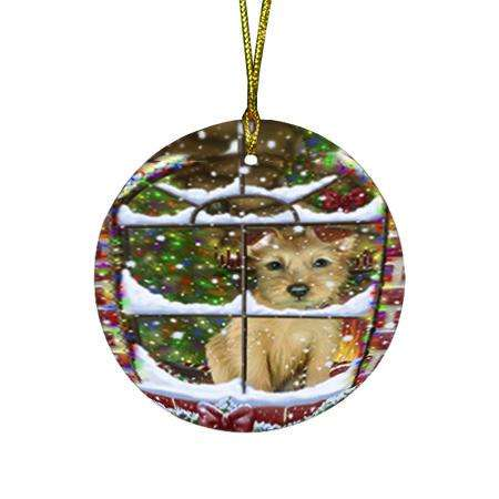 Please Come Home For Christmas Australian Terrier Dog Sitting In Window Round Flat Christmas Ornament RFPOR53604