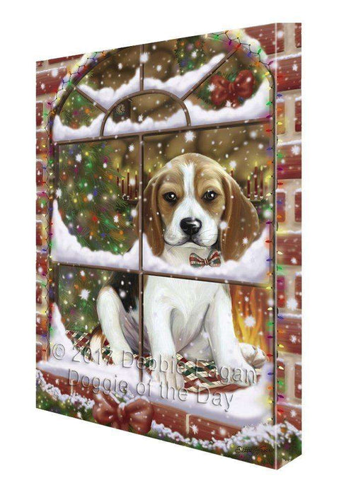 Please Come Home For Christmas Beagles Dog Sitting In Window Painting Printed on Canvas Wall Art
