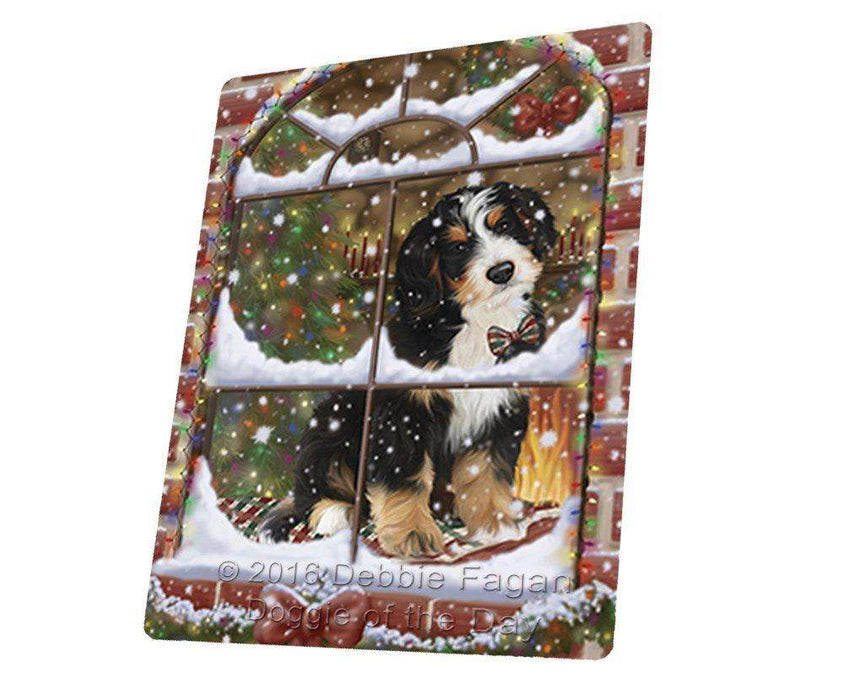Please Come Home For Christmas Bernedoodle Sitting In Window Art Portrait Print Woven Throw Sherpa Plush Fleece Blanket