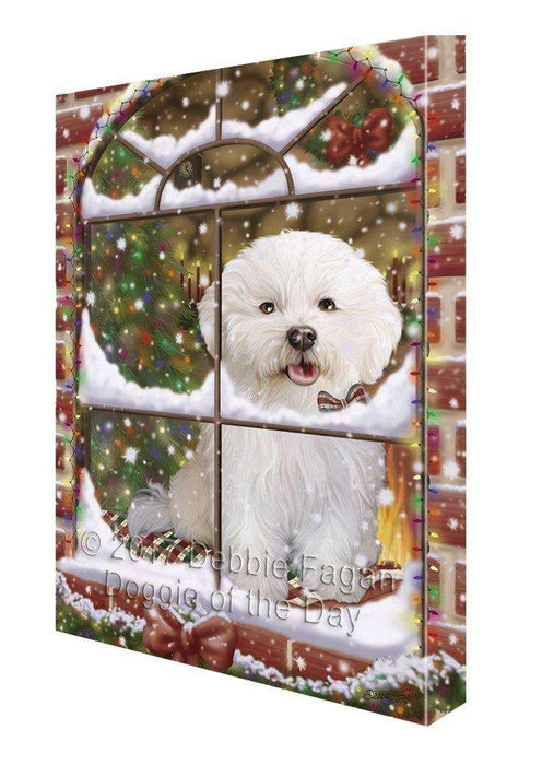 Please Come Home For Christmas Bichon Frise Dog Sitting In Window Canvas Wall Art
