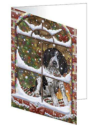 Please Come Home For Christmas Bluetick Coonhound Dog Sitting In Window Greeting Card