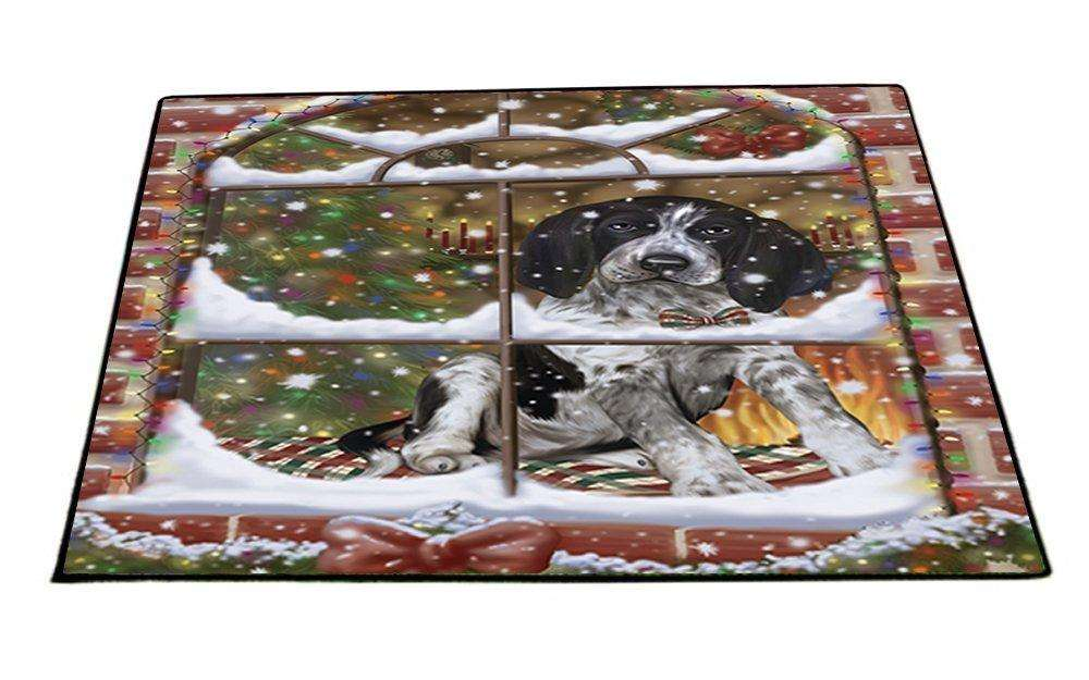 Please Come Home For Christmas Bluetick Coonhound Dog Sitting In Window Indoor/Outdoor Floormat