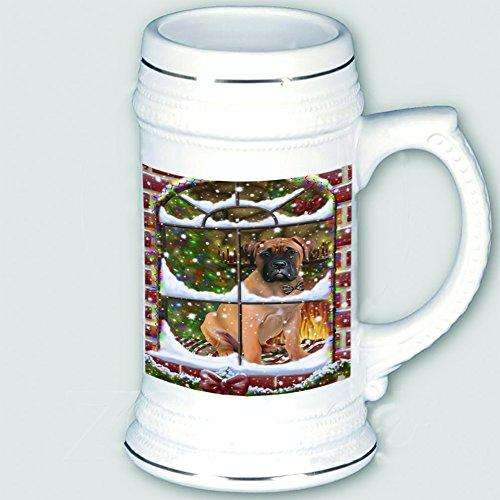 Please Come Home For Christmas Bullmastiff Dog Sitting In Window Beer Stein