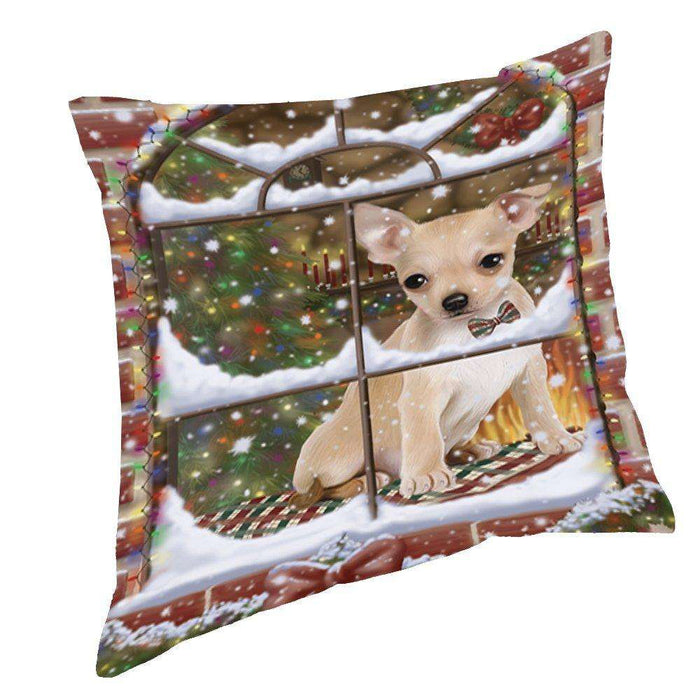 Please Come Home For Christmas Chihuahua Sitting In Window Throw Pillow