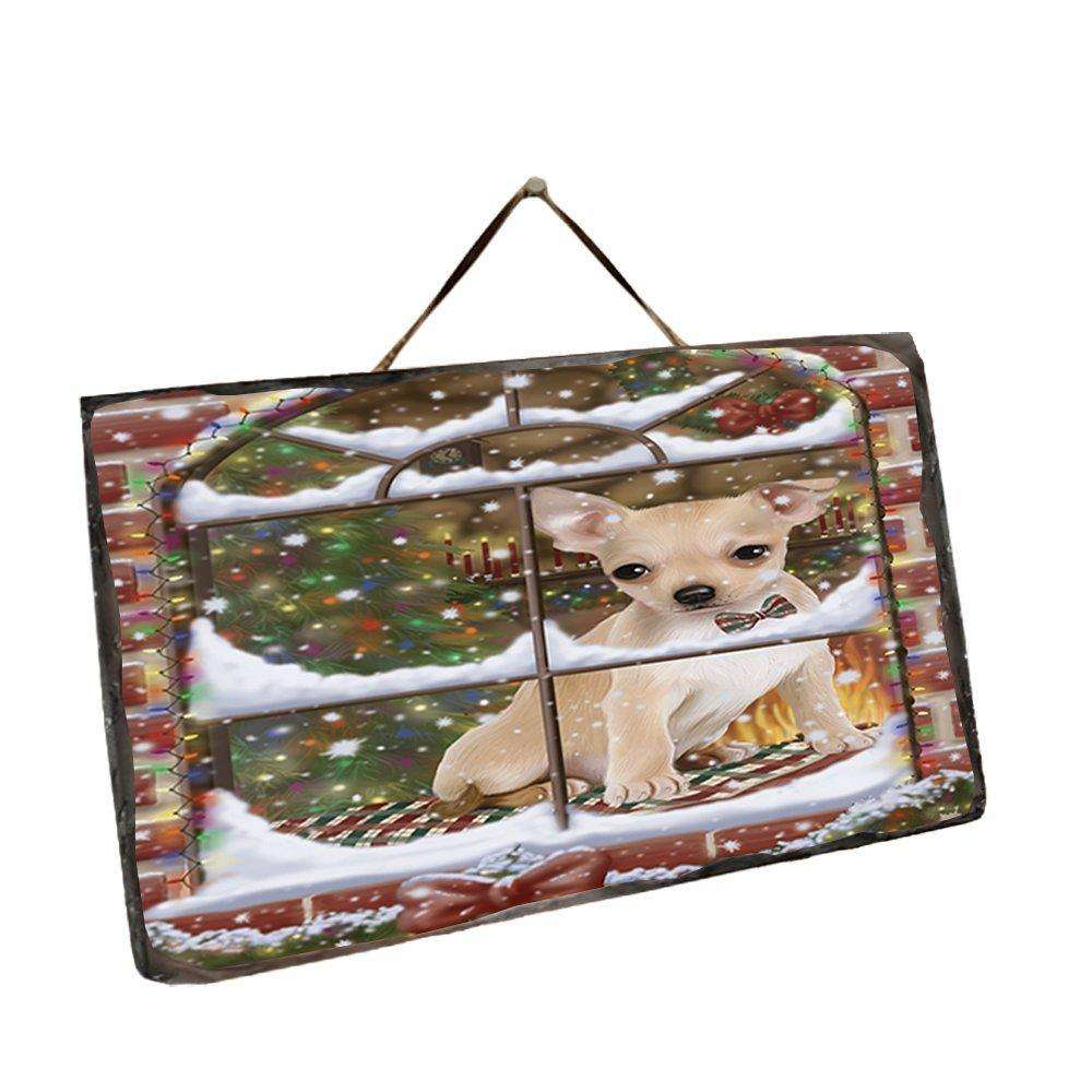 Please Come Home For Christmas Chihuahua Sitting In Window Wall Décor Hanging Photo Slate