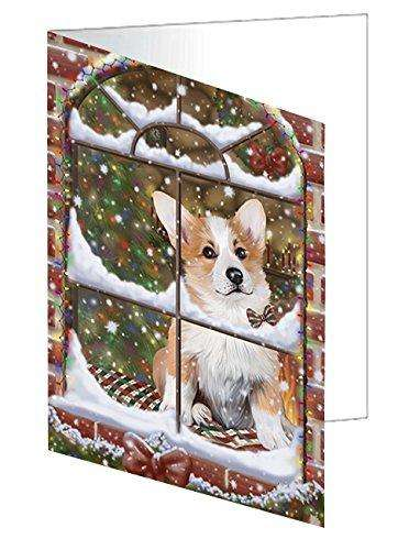 Please Come Home For Christmas Corgis Dog Sitting In Window Greeting Card