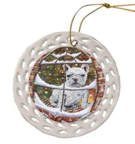 Please Come Home For Christmas French Bulldog Sitting In Window Ceramic Doily Ornament DPOR48568