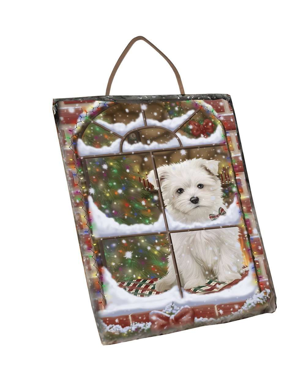 Please Come Home For Christmas Maltese Sitting In Window Wall Décor Hanging Photo Slate