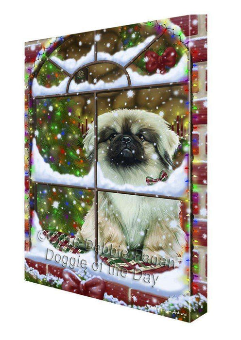 Please Come Home For Christmas Pekingese Dog Sitting In Window Canvas Wall Art