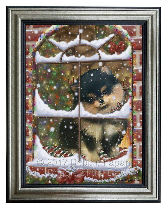 Please Come Home For Christmas Pomeranians Dog Sitting In Window Framed Canvas Print Wall Art
