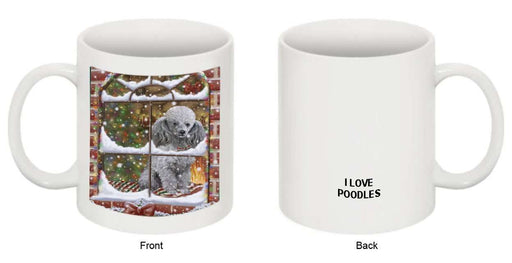Please Come Home For Christmas Poodle Dog Sitting In Window Mug MUG48293
