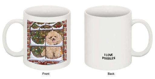 Please Come Home For Christmas Poodle Dog Sitting In Window Mug MUG48295