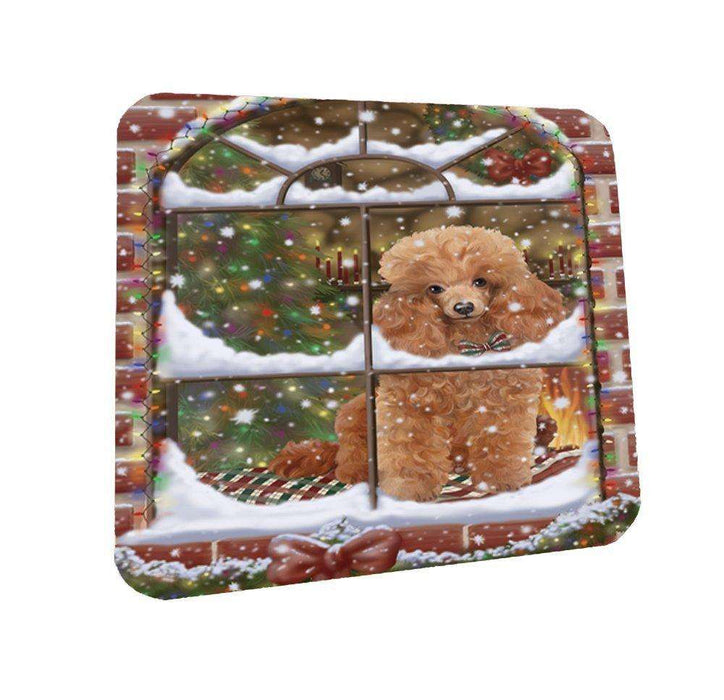 Please Come Home For Christmas Poodles Dog Sitting In Window Coasters Set of 4