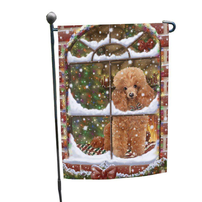 Please Come Home For Christmas Poodles Dog Sitting In Window Garden Flag