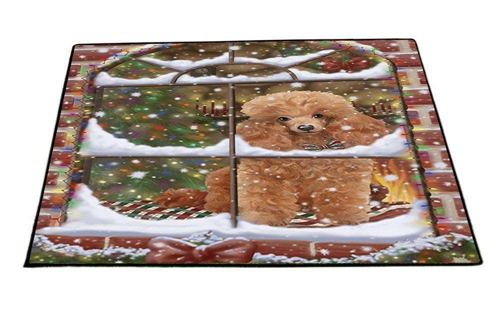 Please Come Home For Christmas Poodles Dog Sitting In Window Indoor/Outdoor Floormat
