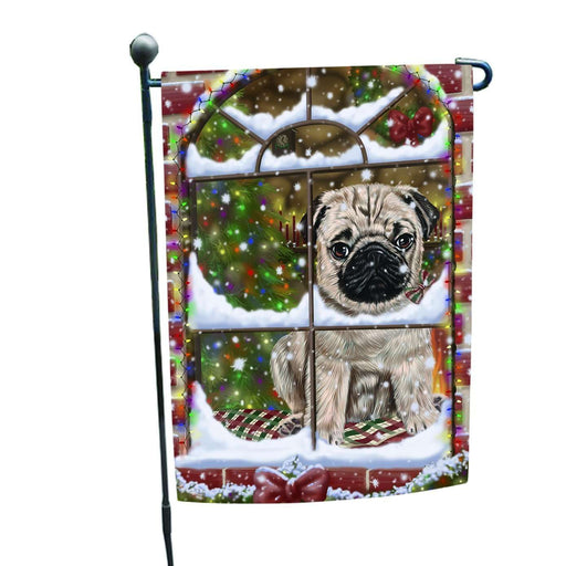 Please Come Home For Christmas Pug Dog Sitting In Window Garden Flag