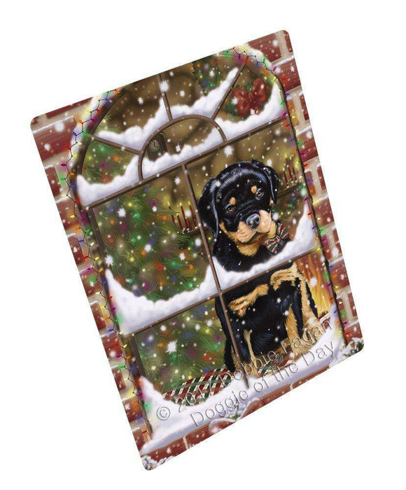 Please Come Home For Christmas Rottweiler Dog Sitting In Window Tempered Cutting Board