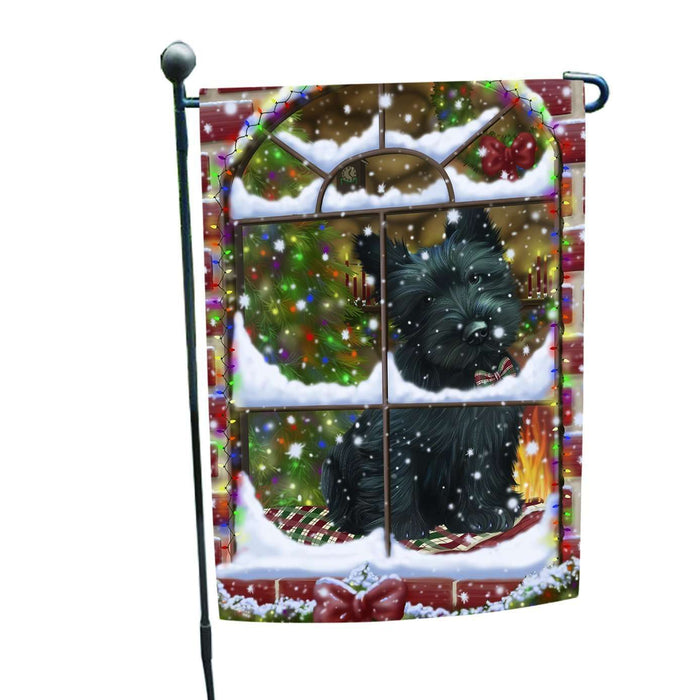 Please Come Home For Christmas Scottish Terrier Dog Sitting In Window Garden Flag