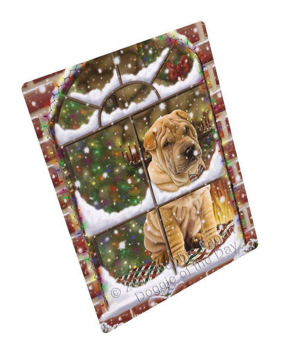 Please Come Home For Christmas Shar Pei Dog Sitting In Window Large Refrigerator / Dishwasher Magnet