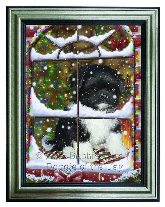 Please Come Home For Christmas Shih Tzu Dog Sitting In Window Framed Canvas Print Wall Art