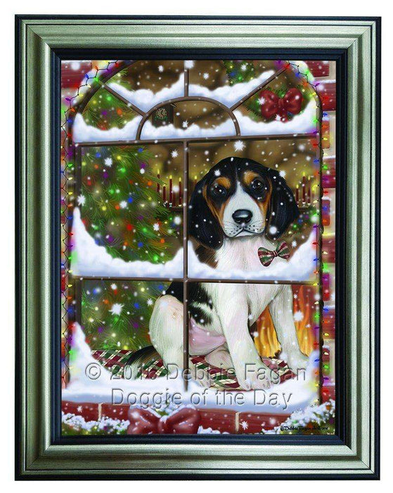 Please Come Home For Christmas Treeing Walker Coonhound Dog Sitting In Window Framed Canvas Print Wall Art