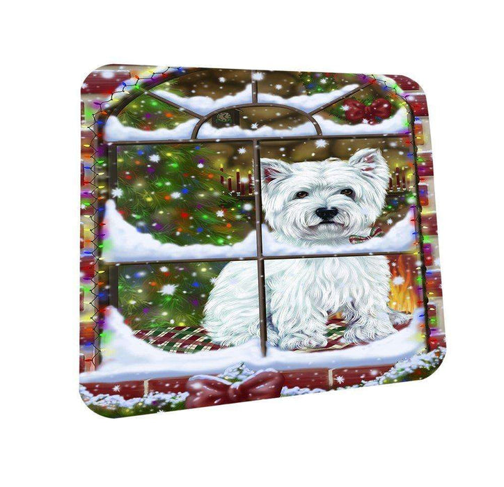 Please Come Home For Christmas West Highland Terriers Dog Sitting In Window Coasters Set of 4
