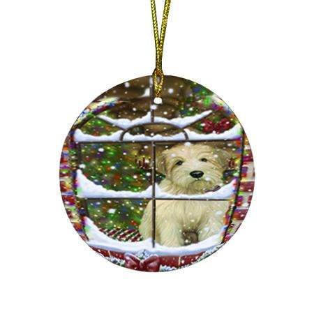 Please Come Home For Christmas Wheaten Terrier Dog Sitting In Window Round Flat Christmas Ornament RFPOR53644