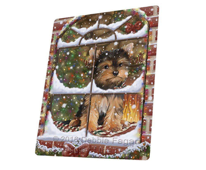 "Please Come Home For Christmas Yorkshire Terriers Sitting In Window Magnet Mini (3.5"" x 2"")"