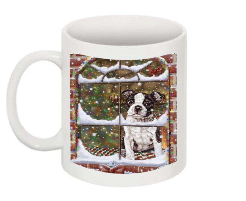 Please Come Home Happy Holidays Boston Terrier Dog Christmas Mug CMG0487