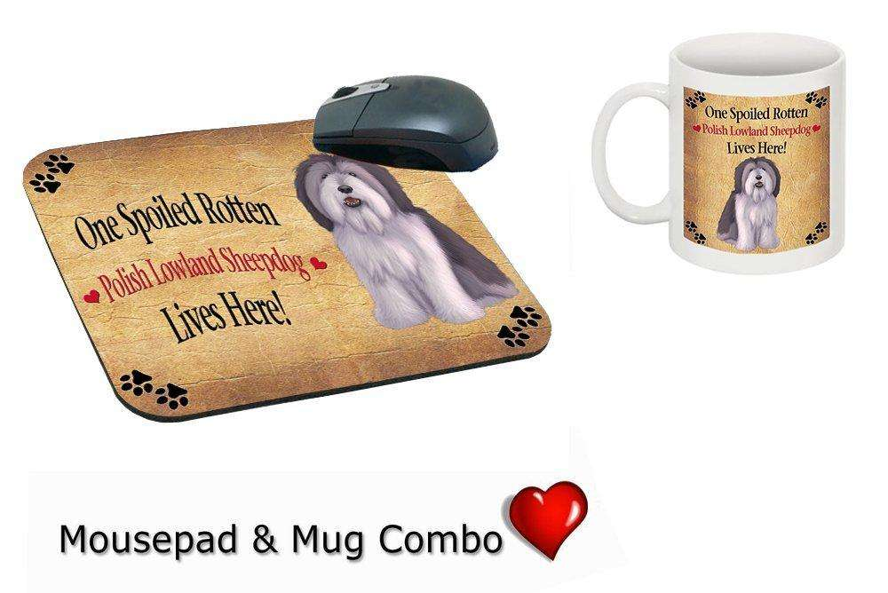 Polish Lowland Sheepdog Spoiled Rotten Dog Mug & Mousepad Combo Gift Set