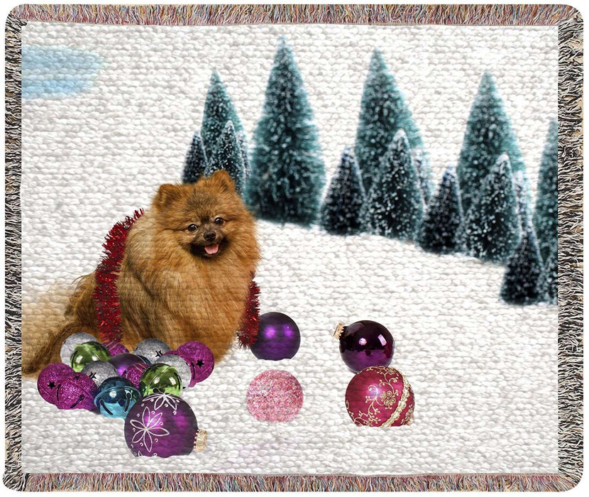 Pomeranian Christmas Woven Throw Blanket 54 x 38