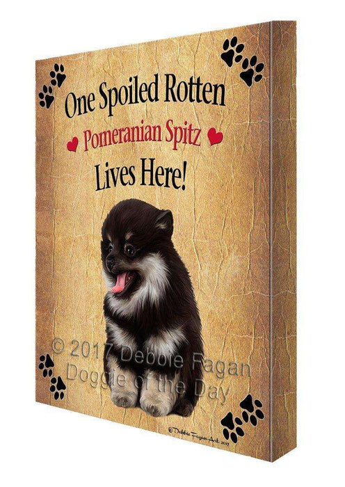 Pomeranian Spitz Spoiled Rotten Dog Canvas Wall Art D546