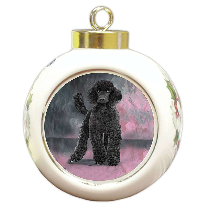 Poodle Black Dog Round Ball Christmas Ornament