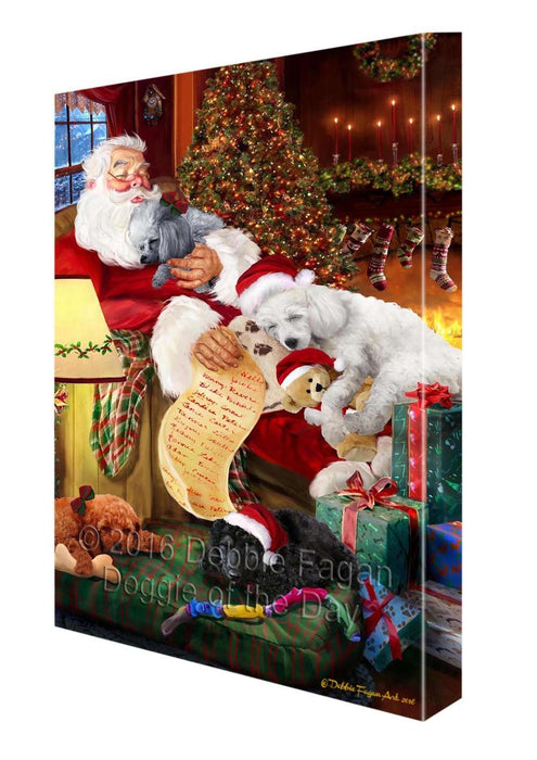 "Poodle Dog and Puppies Sleeping with Santa Canvas Gallery Wrap 1.5"" Inch"