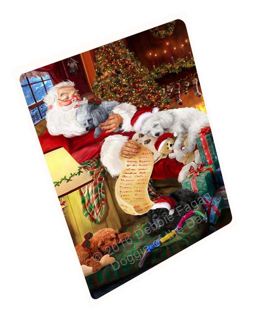 "Poodle Dog And Puppies Sleeping With Santa Magnet Mini (3.5"" x 2"")"